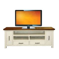 Imperial Solid Timber TV Unit in White and Oak - 168cm