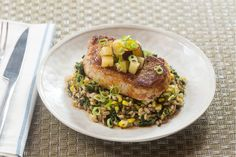 Seared Pork Chops & Summer Stone Fruit with Warm Farro, Kale & Corn Salad Nice To Meat You, Seared Pork Chops, Sample Recipe, Farro Salad, Corn Salads, Cooking For Two, Stone Fruit, Cook At Home, Everyday Food