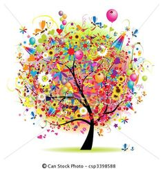 Vector - feliz, feriado, divertido, árbol, Globos - stock de ilustracion, ilustracion libre de, stock de iconos de clip art, logo, arte lineal, retrato de EPS, Retratos, gráficos, dibujos gráficos, dibujos, imágenes vectoriales, trabajo artístico, Arte Vectorial en EPS