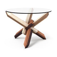 4 × 3 Round Puzzle Coffee Table - Mixed Wood