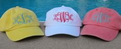 Personalized Monogrammed Baseball Cap Hat. $13.99, via Etsy.