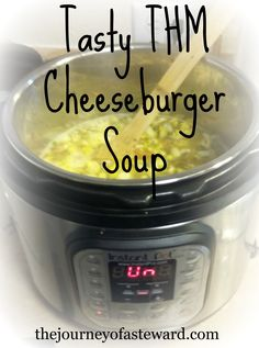 This tasty THM Cheeseburger soup recipe is a family favorite in my home!I I also included pressure cooker instructions for a fast and easy meal! Thm Soup Recipes, Trim Healthy Recipes, Cheese Burger Soup Recipes, Crockpot Recipes, Cooking Recipes, Dinner Recipes, Cream Recipes, Fall Recipes, Trim Healthy Mama Diet