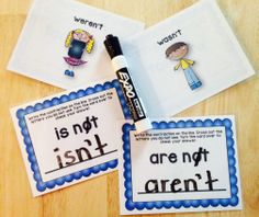 These write and wipe cards will help your students learn and practice writing contractions. Just print back to back and laminate, or put in dry erase pockets. Students use dry erase markers to write the contractions on the front of the card. Crossing out the unused letters first will help them remember the letters they no longer need. Then, they turn the card over to check their work. Once students are finished, they erase the cards, so they are ready for the next eager learner.