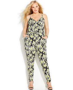 MICHAEL Michael Kors Plus Size Bamboo-Print Jumpsuit - Jumpsuits & Rompers - Plus Sizes - Macy's