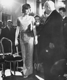 """thestandrewknot: """" Jacqueline Kennedy attends a banquet at Schönbrunn Palace during the the Vienna Summit, 1961. """""""