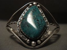 Superior Vintage Navajo Possible Crow Springs Turquoise Silver Bracelet