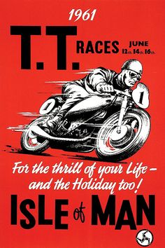 Posters - Vintage Motorcycle Racing Poster The 1961 Isle Of Man Tt Race British Paper Motorcycle Posters, Motorcycle Art, Classic Motorcycle, Motorcycle Humor, Women Motorcycle, Classic Bikes, Racing Motorcycles, Vintage Motorcycles, Indian Motorcycles