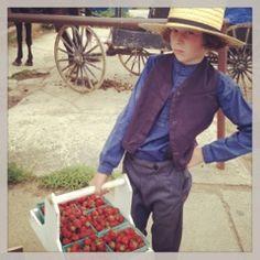 Swartzentruber boy with strawberries. Note typical Swartzentruber hair style.