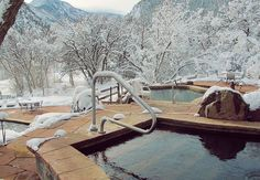 Avalanche Ranch and hot springs. Great winter getaway with snowshoeing, sled and dog sled rides available. Near Redstone, Co