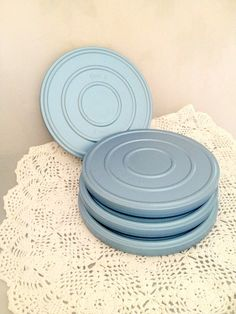 4 Vintage DUAL 8 Film Reel Canisters - Industrial Blue Metal Movie Cases - 7 inches across
