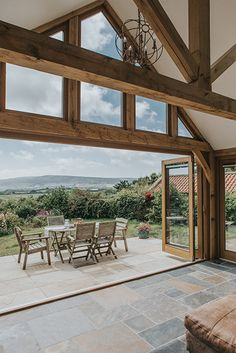 A greenroom with a stunning view - oak framing. Barn Renovation, Rustic Home Design, Oak Frame House, House Exterior, Building A House, Barn Conversion Exterior, House Styles, House Extension Design, Rustic House