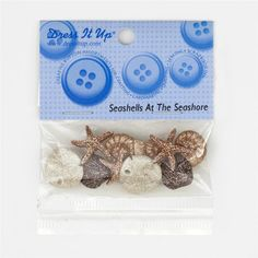 Dress It Up Embellishment Buttons  Seashells At Seashore from @fabricdotcom  These novelty embellishment buttons are the perfect finishing touch to apparel and craft projects.  Buttons feature a shank attachment. Package contains at least 8 pieces.  Please purchase sufficient amounts as design may vary in the package.
