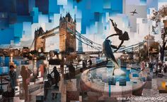 Collage out of several shots of the same scene  (Adrian Brannan - Tower Bridge)