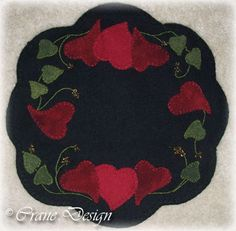 primitive wool applique patterns | of Hearts Wool Candle Mat Pattern by Crane Design-wool, dyed, applique ...