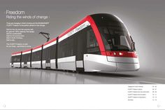 Region of awards LRT DBOM contract. Last August, Transportation announced it had landed a contract with the Regional Municipality of Waterloo to supply 14 Freedom light rail vehicles (shown above), initially serving the cities of Kitchener and Waterloo. Transportation Technology, Ground Transportation, Transportation Design, Mode Of Transport, Public Transport, Quebec, Rail Train, Rapid Transit, Train