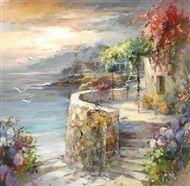 Willem  Haenraets - Seagulls and sunset