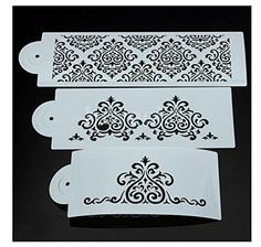 Flower Cake Decorating Tools Stencil Carved 3Piece Classic Fondant Imprint Mat Set Clear * Visit the affiliate link Amazon.com on image for more details.