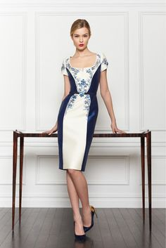 Caroline Herrara:  Pre-fall 2013.  Totally in love with this palette and the cool blue embroidery.