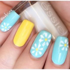 Born Pretty 12 Tips/Sheet Pastel Daisy Pattern Nails Nail Vinyls Nail Art Manicure Stencil Stickers : Beauty Daisy Nails, Flower Nails, Nail Designs Spring, Toe Nail Designs, Vacation Nails, Spring Nails, Cute Nails For Spring, Luxury Nails, Holographic Nails