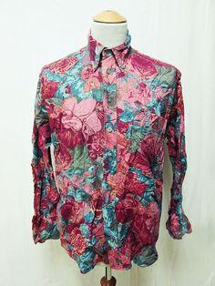 Vintage 80s AMAZING Paisley Vivid Alt-Paisley Floral Beautiful Shirt Large