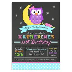 Night Owl Invitation Printable  Birthday or Baby by ThatPartyChick