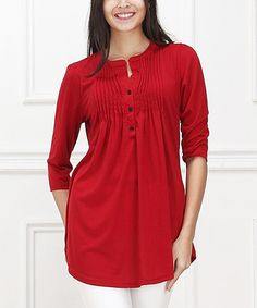 Look what I found on #zulily! Red Pin Tuck Notch Neck Tunic by Reborn Collection #zulilyfinds