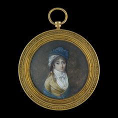 Portrait miniature of a Young Girl wearing a light brown redingote, white fichu and tied white cravat, with a blue shawl, bonnet and white lace cap, c.1790, by Jean-Baptiste Isabey (1767-1855)