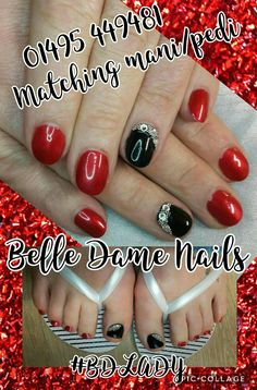 Matching mani pedi with genuine Swarovski crystals.  By Tan Adams at Belle Dame Nails.