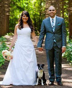 """""""I couldn't get married without my best friend by my side,"""" Edmodo's Senior Marketing Manager, Lucia Giacomantonio, with her Boston Terrier, Lola."""