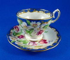"""Pretty Blue Bell """"Narcissus"""" Tea Cup and Saucer Set 6 trios,cream sugar , cake plate"""