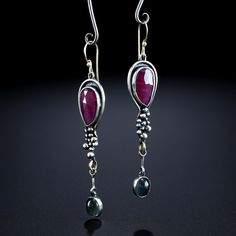 Rose Cut Ruby & Moonstone Earrings. Fabricated Sterling Silver and 14k Gold. www.amybuettner.com https://www.facebook.com/pages/Metalsmiths-Amy-Buettner-Tucker-Glasow/101876779907812?ref=hl https://www.etsy.com/people/amybuettner http://instagram.com/amybuettnertuckerglasow