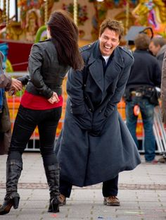 John Barrowman and Eve Myles during filming for Torchwood Doctor Who, Eleventh Doctor, Eve Myles, Jack Johns, Captain Jack Harkness, John Barrowman, Fandom Crossover, Rory Williams, Amy Pond