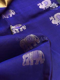 Blue Pure Silk Kanchipuram Saree with Zari | SILK MARK CERTIFIED | Sho – Shobitam Kanjivaram Sarees, Kanchipuram Saree, Silk Sarees, Pure Silk, Color Combinations, Weaving, Pure Products, Unique, Fabric