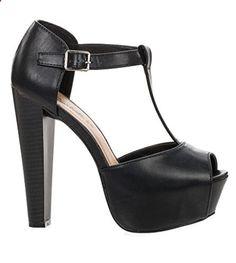 Breckelles - Womens Brina Peep Toe High Heel T-Strap Platform Sandal, Black - Relaxbuddy Online Shopping Walk This Way, High Heels, Women's Heels, T Strap, Shoes Online, Peeps, Peep Toe, Walking, Platform