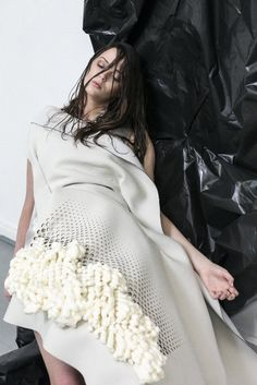 Perforated dress detail with woven yarn textures; innovative textiles for fashion; fabric embellishment // Doan Nguyen