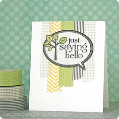 CAS card using washi tape by Courtney Kelley - Just Saying Hello Tree