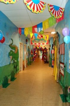 Classroom Decoration Ideas for Primary School Fresh Great Hallway Ideas This is . Classroom Decoration Ideas for Primary School Fresh Great Hallway Ideas This is What An Elementary School Vbs Themes, Carnival Themes, Circus Theme Classroom, Classroom Decor, School Classroom, School Decorations, School Themes, Circus Decorations, Primary School