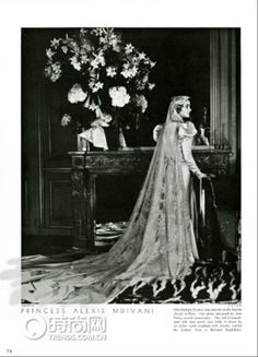 "Barbara Hutton in her wedding dress Details ; Portrait of Barbara Woolworth Hutton (1912-1979), socialite, heiress and philanthropist, dubbed the ""poor little rich girl"", in the wedding dress she wore for her marriage, to Prince Alexis Mdivani, the first of her seven husbands. The dress in cream satin was designed for her by Jean Patou. Her veil of old rose point was held in place by an amber comb studded with jewels made by Cartier - a copy of a Balinese headdress."