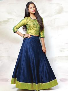 Shop Green navy raw silk wedding wear girls lehenga choli online from India. Choli Designs, Lehenga Designs, Indian Attire, Indian Ethnic Wear, Indian Outfits, Kids Ethnic Wear, Long Skirt And Top, Kids Lehenga Choli, Anarkali
