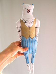 Cotton bear art display doll hand painted by JessQuinnSmallArt