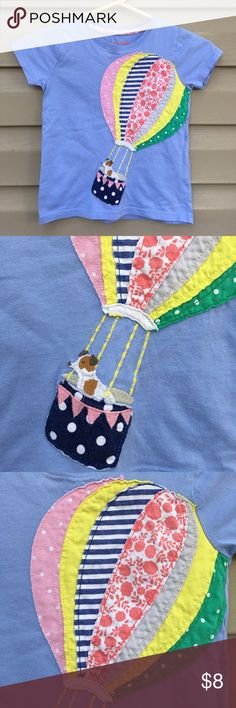 Mini Boden girls blue shirt with balloon appliqué Cute appliqué blue tee shirt ( dog in hot air balloon. 100% cotton small faded spot on collar ( see last pic) otherwise no stains or holes. Mini Boden Shirts & Tops Tees - Short Sleeve
