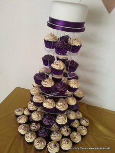 Cadburys Purple and Ivory Wedding Cupcake Tower | Flickr - Photo Sharing!