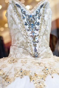 Turquoise blue accents, white with soft gold - classy and elegant for Irish solo dress Ballet costumes by Bananawacky,