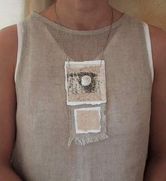 paper and linen necklace