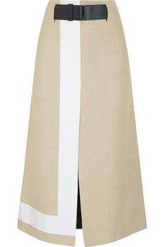 Striped jute and silk-blend canvas skirt #skirt #women #covetme #victoriabeckham
