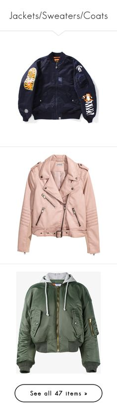 """""""Jackets/Sweaters/Coats"""" by taytay0258 ❤ liked on Polyvore featuring men's fashion, outerwear, jackets, h&m, pink jacket, biker jacket, vegan leather moto jacket, pink faux leather jacket, faux leather biker jacket and tops"""