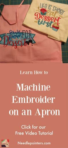 Check out this embroidery video and learn how to machine embroider on an apron. Machine Embroidery Gifts, Free Machine Embroidery Designs, Embroidery Ideas, Apron Tutorial, Embroidered Apron, Quilted Gifts, Hand Applique, Embroidery For Beginners, Princess Crowns