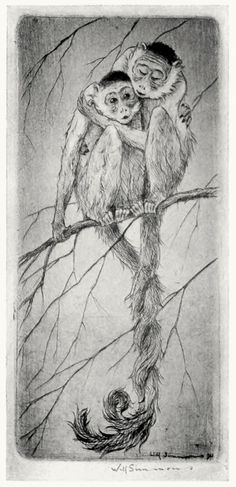 Two tails that twine as one (dry point). Will Simmons (1884-1949), from Etching and other graphic arts, by George T. Plowman, New York, 1922. (Source: archive.org)
