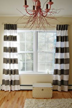 Painted curtains, definitely going in my next apartment ! I love the stripes and chevron design <3