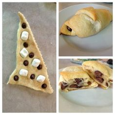 S'mores Croissants:  Mini marshmallows  Chocolate Chips mini's  I can Crescent Rolls    I know, we just got through with Thanksgiving goodies, but these are so easy, and good. Put them together as shown here, then cook at 350 until golden brown.  (from Oh So ShAbBy By Debbie Reynolds)